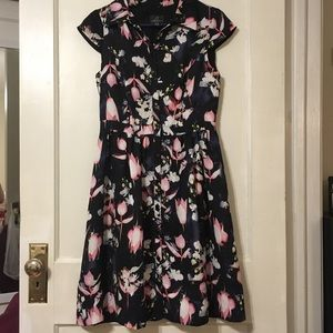 Tea length floral Adrianna Papell dress w/ buttons